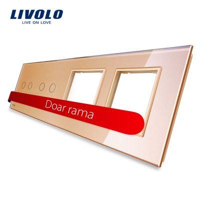 Panou 2 intrerupatoare duble cu touch si 2 prize LIVOLO din sticla culoare aurie