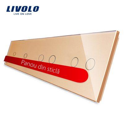 Panou intrerupator simplu+simplu+dublu+dublu cu touch LIVOLO din sticla culoare aurie