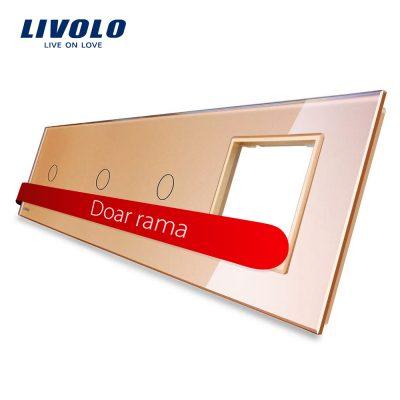 Panou intrerupator simplu+simplu+simplu cu touch + priza LIVOLO din sticla culoare aurie