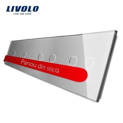 Panou intrerupator simplu+simplu+dublu+dublu cu touch LIVOLO din sticla culoare gri