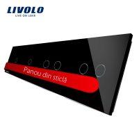 Panou intrerupator simplu+simplu+dublu+dublu cu touch LIVOLO din sticla culoare neagra