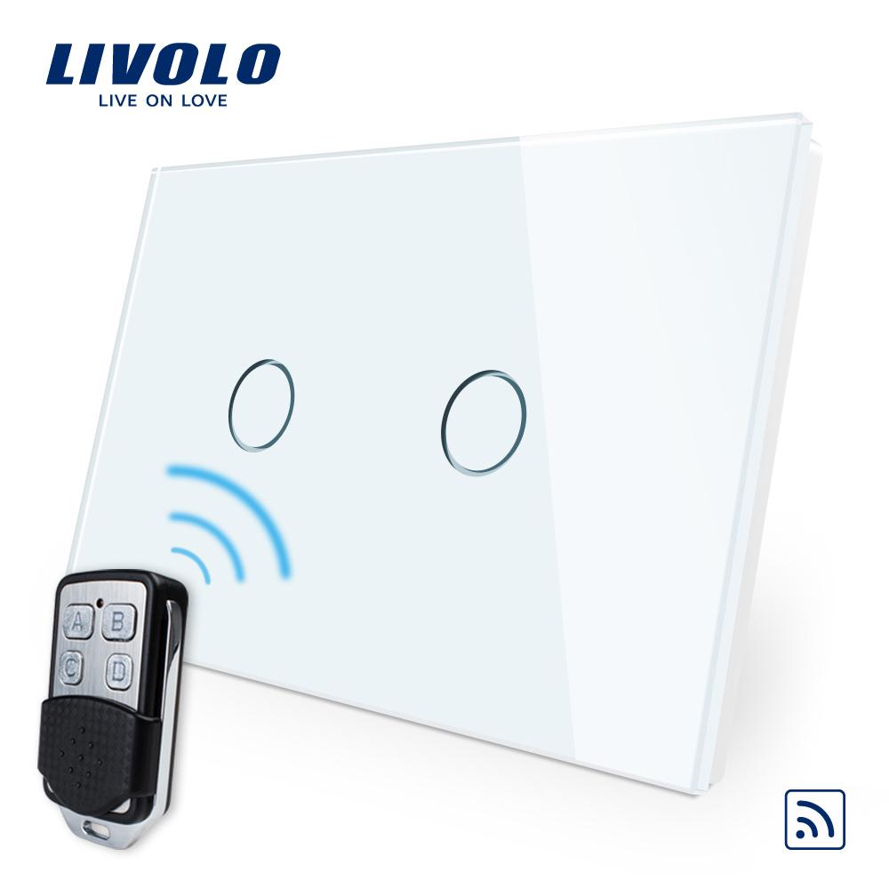 Intrerupator dublu wireless cu touch Livolo din sticla si telecomanda inclusa-standard italian imagine case-smart.ro 2021