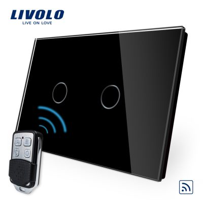 Intrerupator dublu wireless cu touch Livolo din sticla si telecomanda inclusa-standard italian culoare neagra