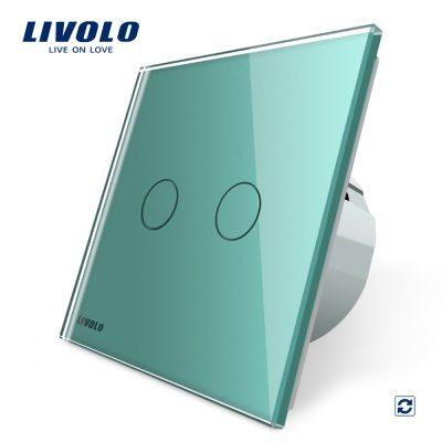 Intrerupator dublu cu revenire (reset) Livolo cu touch din sticla culoare verde