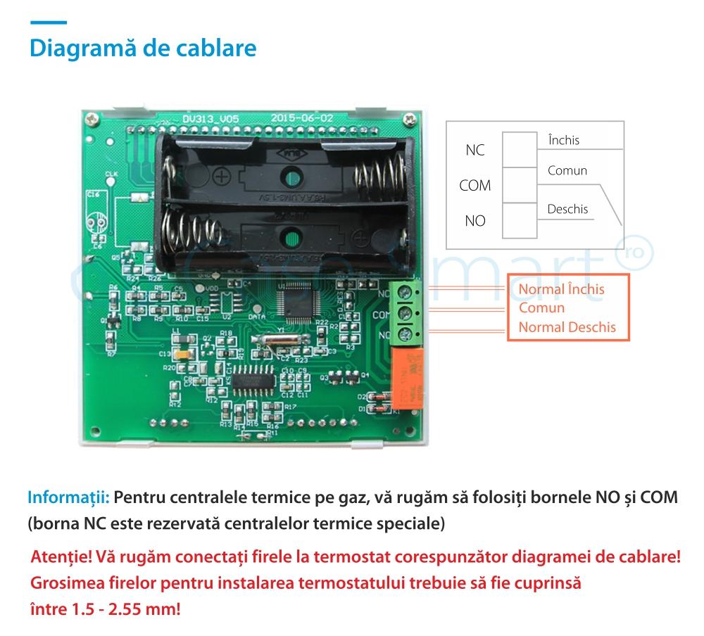 Termostat pentru centrala termica pe gaz si incalzire in pardoseala BeOK BOT-313W