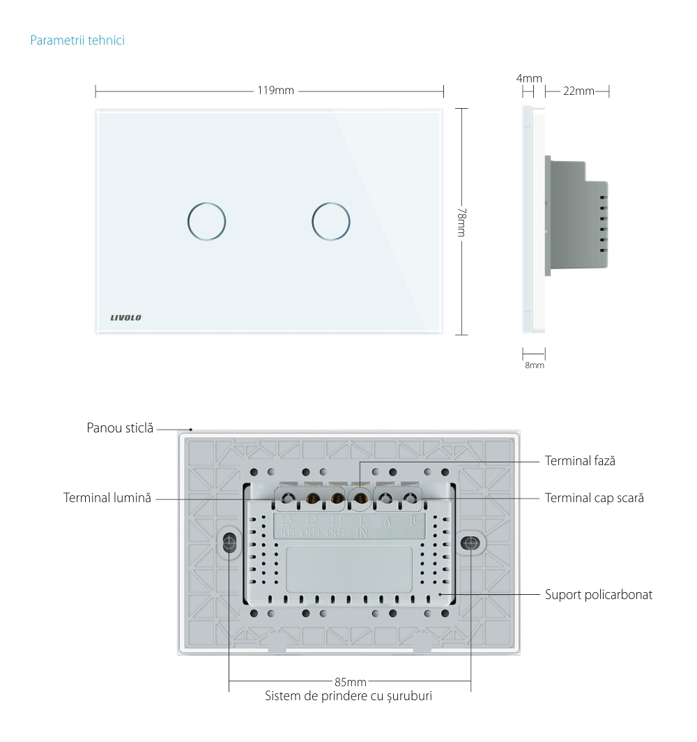 Intrerupator dublu wireless cu touch Livolo din sticla si telecomanda inclusa-standard italian