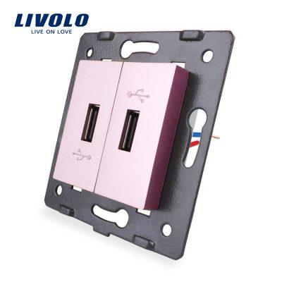 Priza Dubla USB Livolo culoare roz