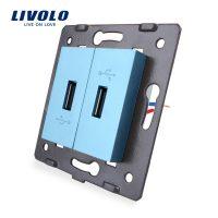 Priza Dubla USB Livolo culoare albastra