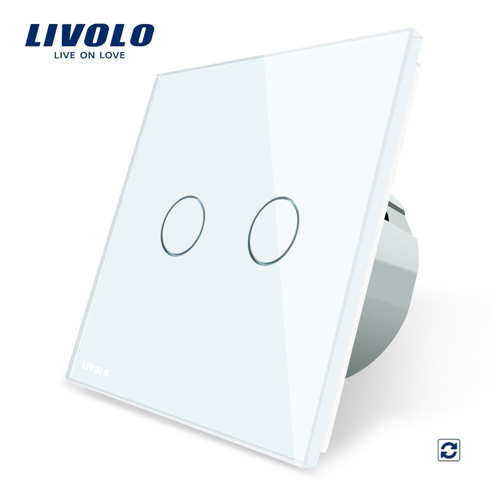 Intrerupator dublu cu revenire contact uscat Livolo cu touch din sticla imagine case-smart.ro 2021