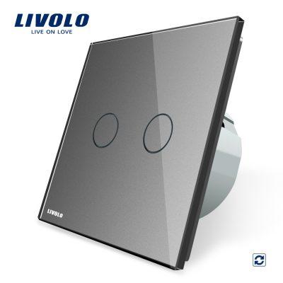 Intrerupator dublu cu revenire contact uscat Livolo cu touch din sticla culoare gri