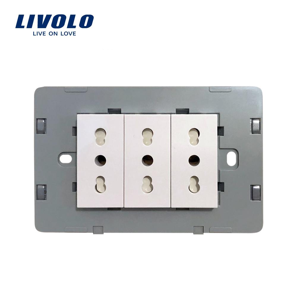 Modul priza tripla LIVOLO standard italian imagine case-smart.ro 2021