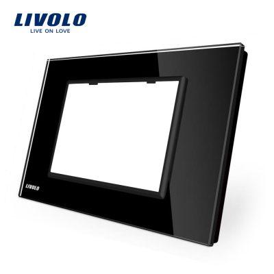 Rama priza tripla LIVOLO din sticla – standard italian culoare neagra