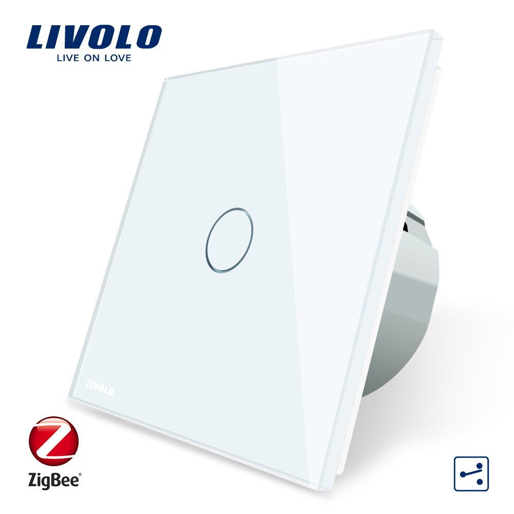 Intrerupator simplu cap-scara cap-cruce cu touch Livolo din sticla – protocol ZigBee, Control de pe telefonul mobil imagine case-smart.ro 2021