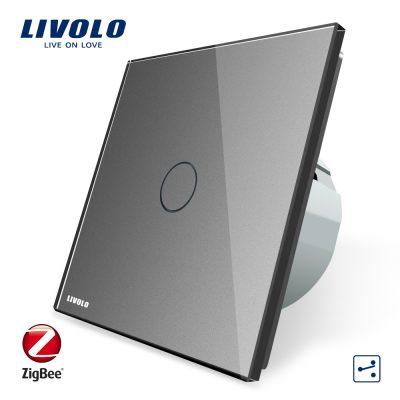 Intrerupator simplu cap-scara cap-cruce cu touch Livolo din sticla – protocol ZigBee, Control de pe telefonul mobil culoare gri