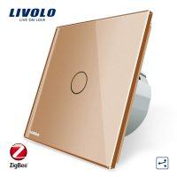 Intrerupator simplu cap-scara cap-cruce cu touch Livolo din sticla – protocol ZigBee culoare aurie