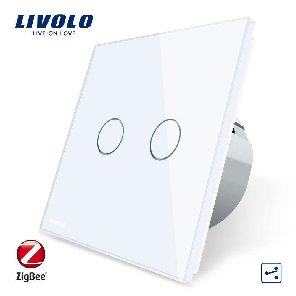 Intrerupator dublu cap-scara cap-cruce cu touch Livolo din sticla – protocol ZigBee, Control de pe telefonul mobil imagine case-smart.ro 2021