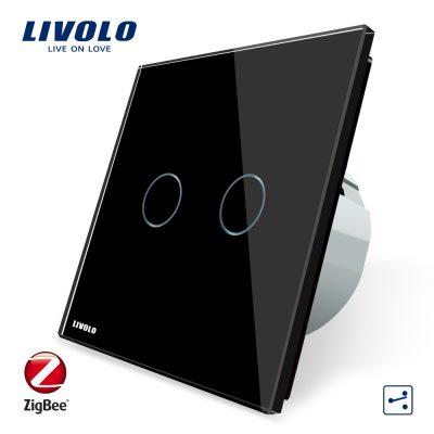 Intrerupator dublu cap-scara cap-cruce cu touch Livolo din sticla – protocol ZigBee, Control de pe telefonul mobil culoare neagra