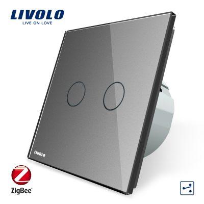 Intrerupator dublu cap-scara cap-cruce cu touch Livolo din sticla – protocol ZigBee, Control de pe telefonul mobil culoare gri