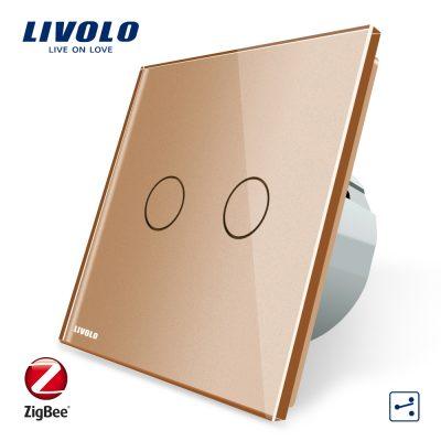 Intrerupator dublu cap-scara cap-cruce cu touch Livolo din sticla – protocol ZigBee, Control de pe telefonul mobil culoare aurie