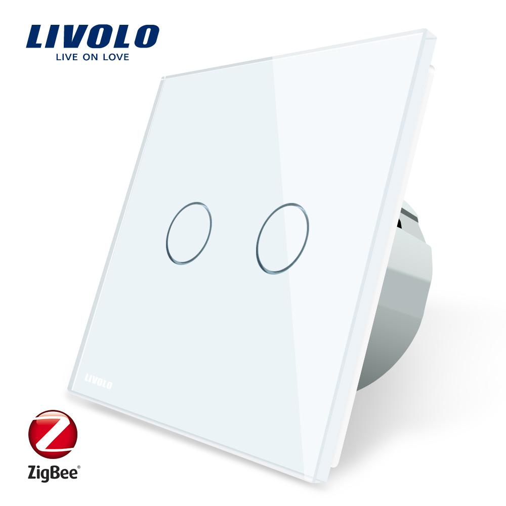 Intrerupator dublu cu touch Livolo din sticla – protocol ZigBee, Control de pe telefonul mobil imagine case-smart.ro 2021
