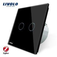 Intrerupator dublu cu touch Livolo din sticla – protocol ZigBee culoare neagra