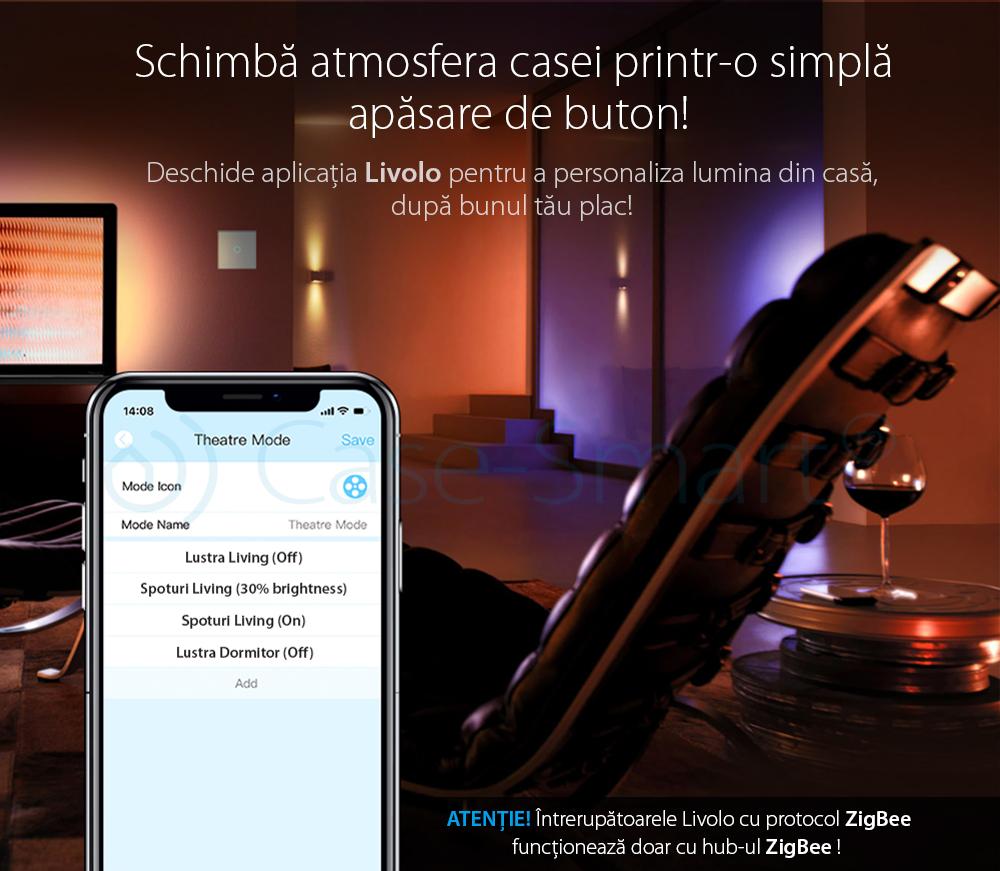 Modul Intrerupator dublu cu touch Livolo – protocol ZigBee