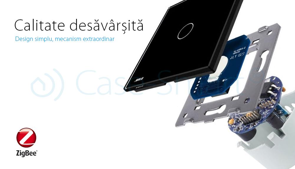 Intrerupator simplu cap-scara cap-cruce cu touch Livolo din sticla – protocol ZigBee, Control de pe telefonul mobil