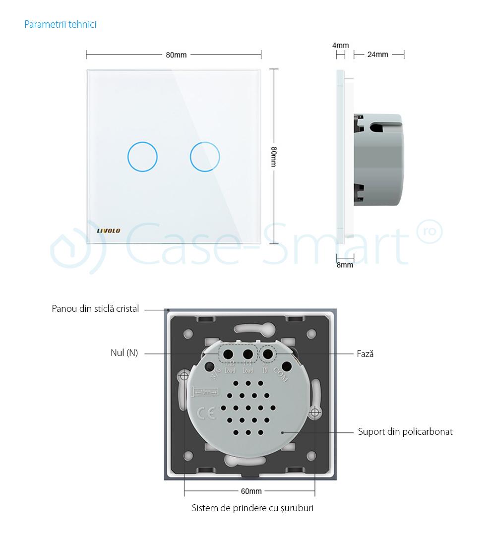 Intrerupator dublu cu touch Livolo din sticla – protocol ZigBee, Control de pe telefonul mobil