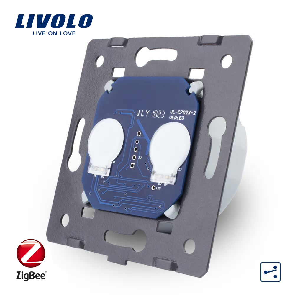 Modul Intrerupator dublu cap-scara cap-cruce cu touch Livolo – protocol ZigBee imagine case-smart.ro 2021