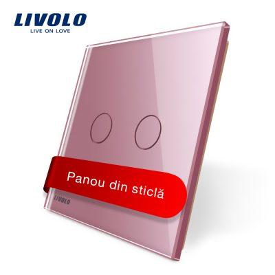 Panou intrerupator dublu cu touch Livolo din sticla culoare roz