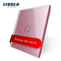 Panou intrerupator cu touch Livolo din sticla culoare roz
