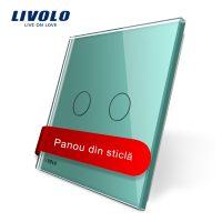 Panou intrerupator dublu cu touch Livolo din sticla culoare verde