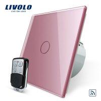 Intrerupator LIVOLO simplu wireless cu touch si telecomanda inclusa culoare roz