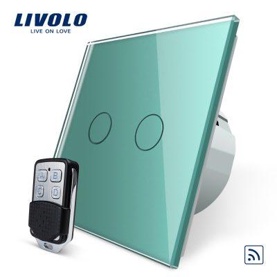 Intrerupator LIVOLO cu touch dublu wireless telecomanda inclusa culoare verde