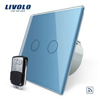 Intrerupator LIVOLO cu touch dublu wireless telecomanda inclusa culoare albastra