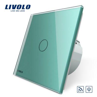 Intrerupator wireless cu variator cu touch Livolo din sticla culoare verde