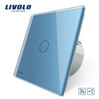 Intrerupator cap scara / cap cruce wireless cu touch Livolo din sticla culoare albastra