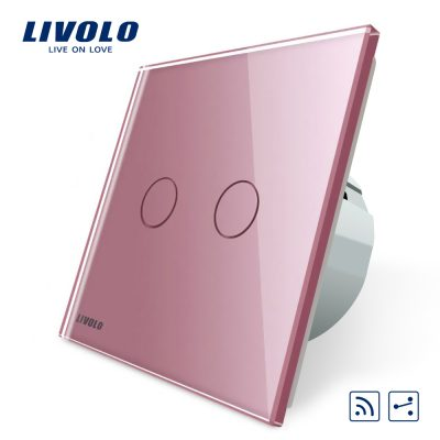 Intrerupator dublu cap scara / cap cruce wireless Livolo din sticla culoare roz
