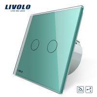 Intrerupator dublu cap scara / cap cruce wireless Livolo din sticla culoare verde