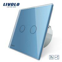 Intrerupator dublu cap scara / cap cruce wireless Livolo din sticla culoare albastra