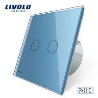 Intrerupator draperie wireless cu touch Livolo din sticla culoare albastra