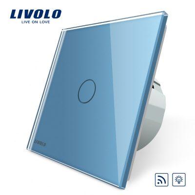 Intrerupator wireless cu variator cu touch Livolo din sticla culoare albastra