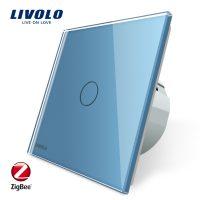 Intrerupator simplu cu touch Livolo din sticla – protocol ZigBee, Control de pe telefonul mobil culoare albastra