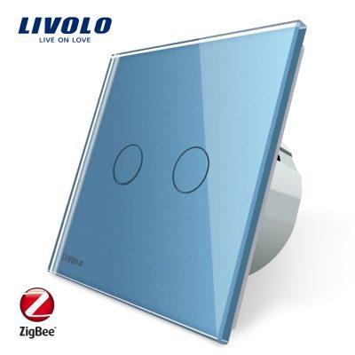 Intrerupator dublu cu touch Livolo din sticla – protocol ZigBee, Control de pe telefonul mobil culoare albastra