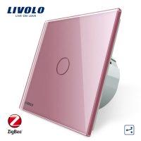 Intrerupator simplu cap-scara cap-cruce cu touch Livolo din sticla – protocol ZigBee culoare roz
