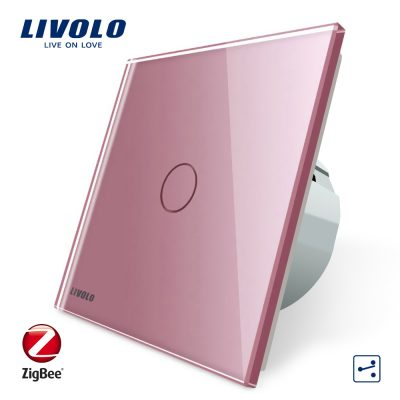 Intrerupator simplu cap-scara cap-cruce cu touch Livolo din sticla – protocol ZigBee, Control de pe telefonul mobil culoare roz