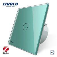 Intrerupator simplu cap-scara cap-cruce cu touch Livolo din sticla – protocol ZigBee, Control de pe telefonul mobil culoare verde