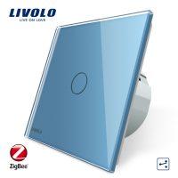 Intrerupator simplu cap-scara cap-cruce cu touch Livolo din sticla – protocol ZigBee, Control de pe telefonul mobil culoare albastra