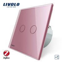 Intrerupator dublu cap-scara cap-cruce cu touch Livolo din sticla – protocol ZigBee culoare roz