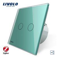 Intrerupator dublu cap-scara cap-cruce cu touch Livolo din sticla – protocol ZigBee culoare verde